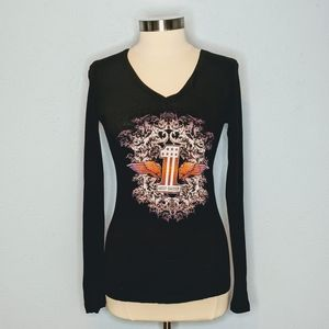 Harley Davidson Graphic Long Sleeve Fitted T-Shirt